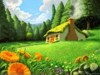 Los tres consejos. Casa pequeña con chimenea y sendero, en un prado con flores y rodeada por un bosque