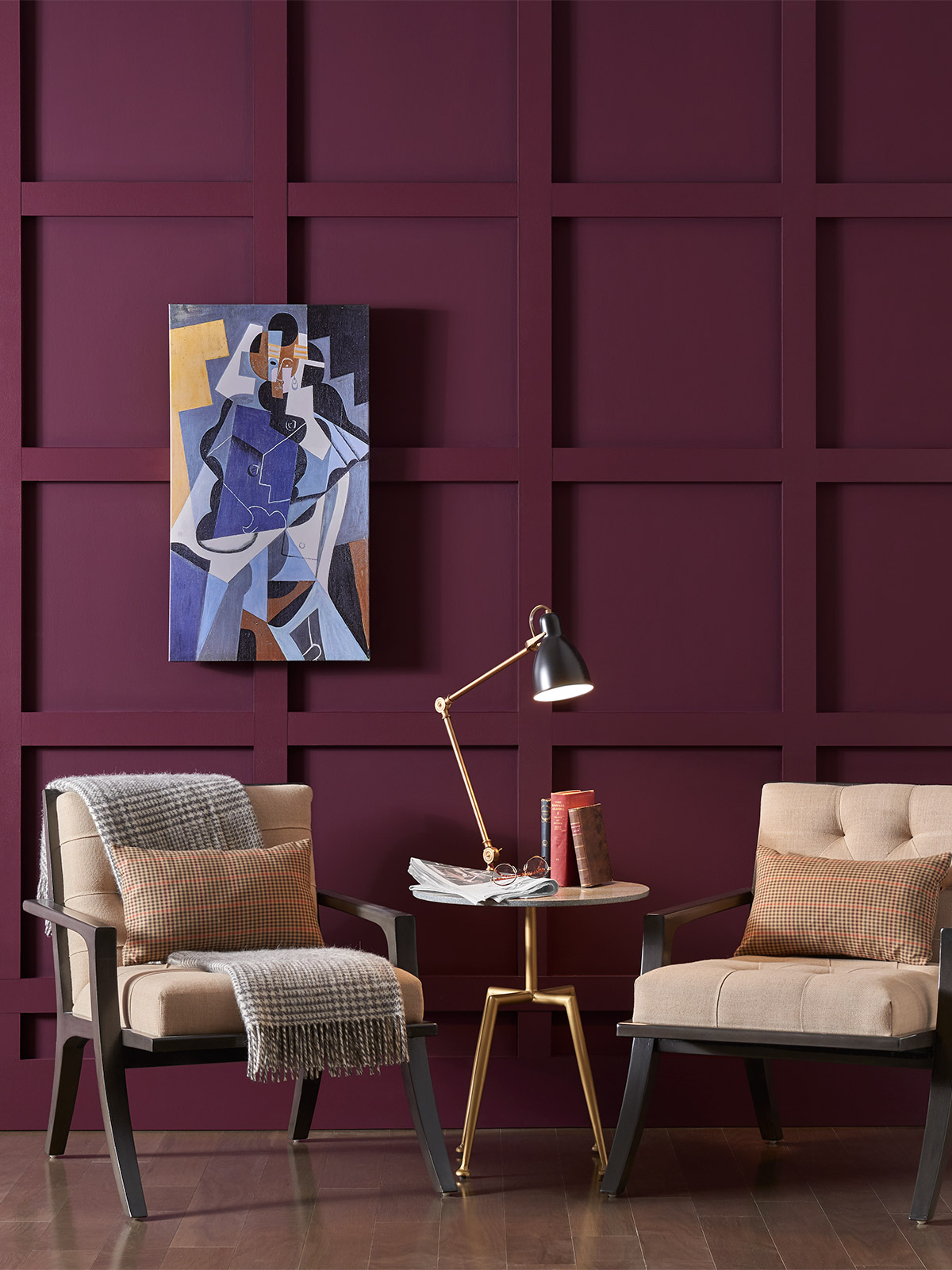 burgundy paint on walls