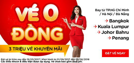 Săn vé 0 đồng từ khuyến mãi Air Asia