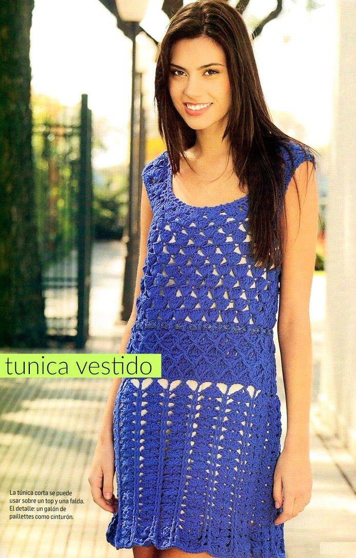 Tunica o vestido color azul francia