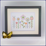 Embroidery on card abstract flowers and seed heads and stitch pattern