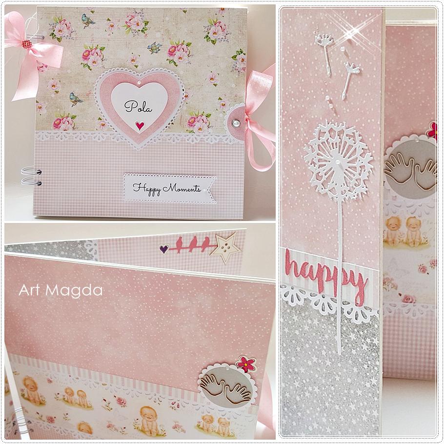 ArtMagda Handmade, albumy ręcznie robione, dla dziewczynki, na chrzest, na roczek, prezent
