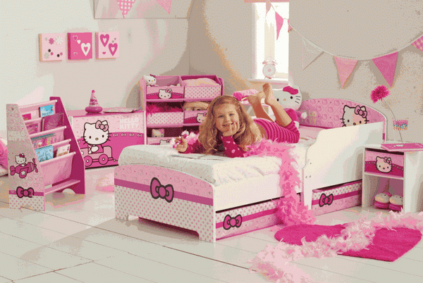 Foto Kamar Tidur Hello Kitty Anak Perempuan Dekorasi Pink Lucu Minimalis