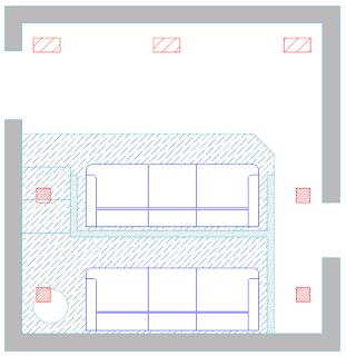 Sala com caixas de som arandelas