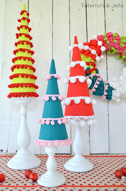 pom pom Christmas trees- Tater Tots and Jello