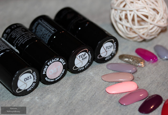 Manicure hybrydowy: Semilac Pink Peach Strong White