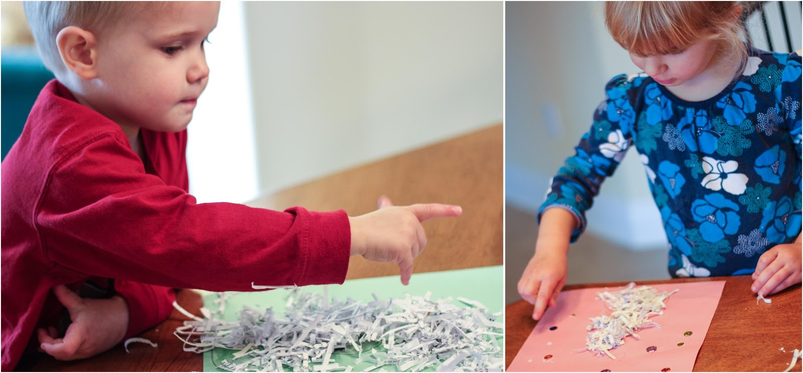 kids gluing shredded paper onto their craft