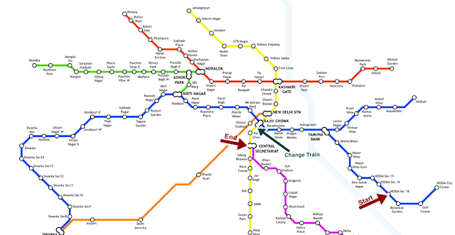 Metro Route Map to Rashtrapati Bhavan from Noida
