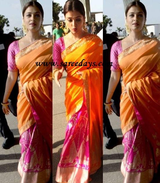 Latest saree designs aishwarya rai in orange and pink saree aishwarya rai in orange and pink saree altavistaventures Images