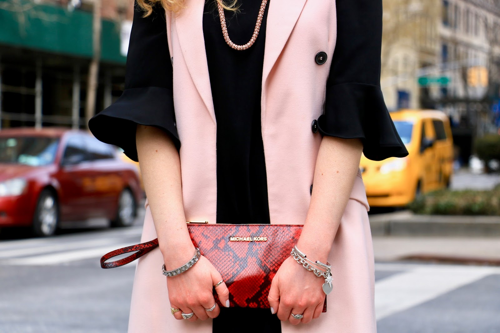 Nyc fashion blogger Kathleen Harper's red snakeskin Michael Kors clutch