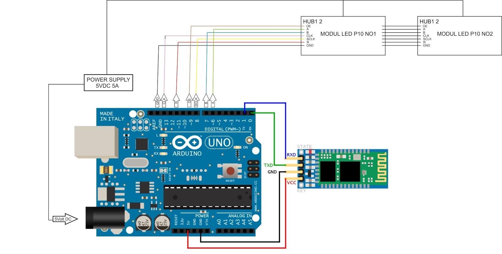 Imam tech innovation arduino uno running text bluetooth