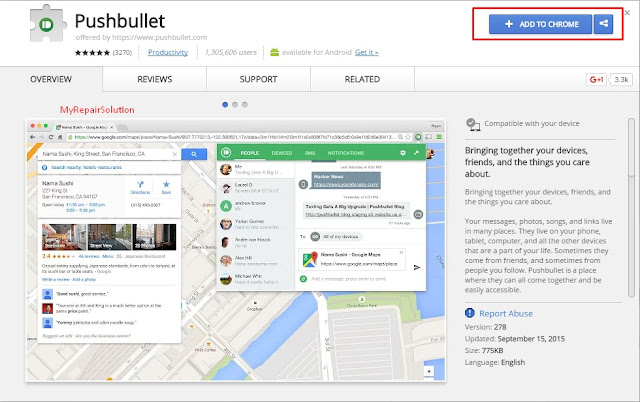 klik add to chrome untuk menginstall pushbullet