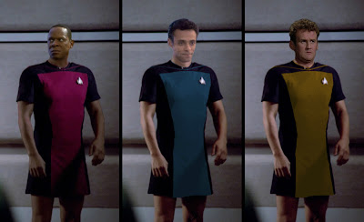 Deep Space Nine crew wearing TNG skant uniforms