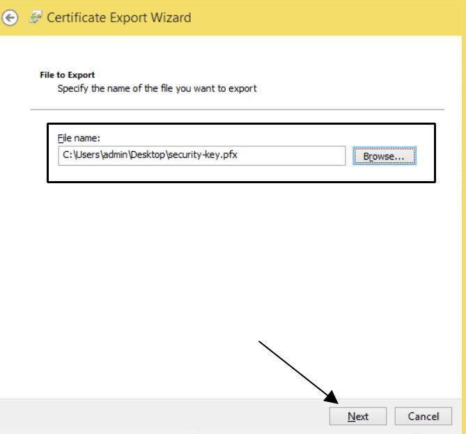 Certificate File Name