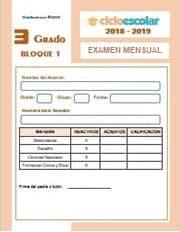 Examen mensual del Bloque I Octubre - Tercer grado  2018-2019