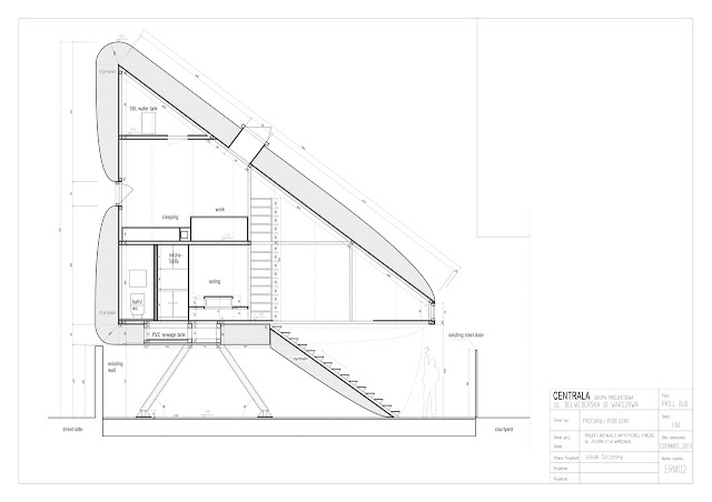 World's narrowest house section blueprint showing every part of the house