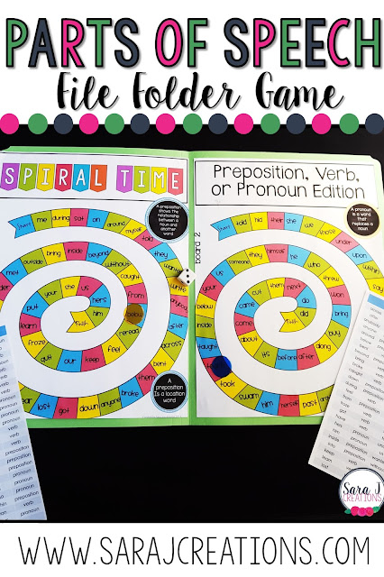 Parts of speech file folder game preposition, verb, pronoun