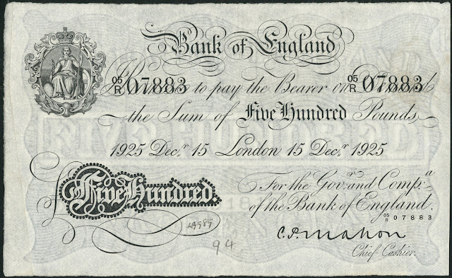 Great Britain 500 Pound Sterling White Note 1925 Bank of England