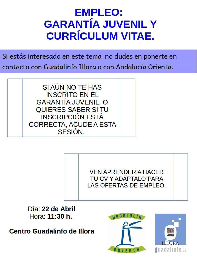 Centro Guadalinfo de Illora: Garatía Juvenil y Currículum Vitae
