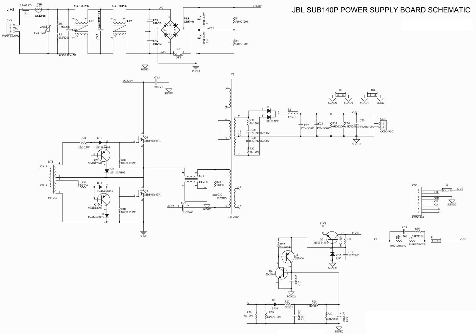 JBL Sub 140P – JBL sub 230 – Circuit Diagram | Electro help