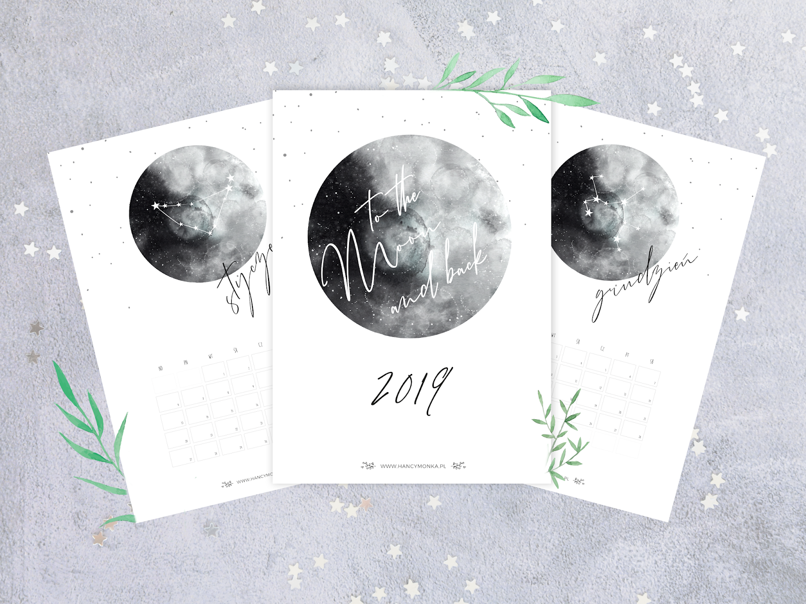 kalendarz 2019, kalendarz 2019 do druku, kalendarz, 2019, prontable calendar, calendar 2019, freebie, moon calendar, to the moon and back, hancymonka, darmowy kalendarz, pobierz kalendarz, do pobrania, grafika