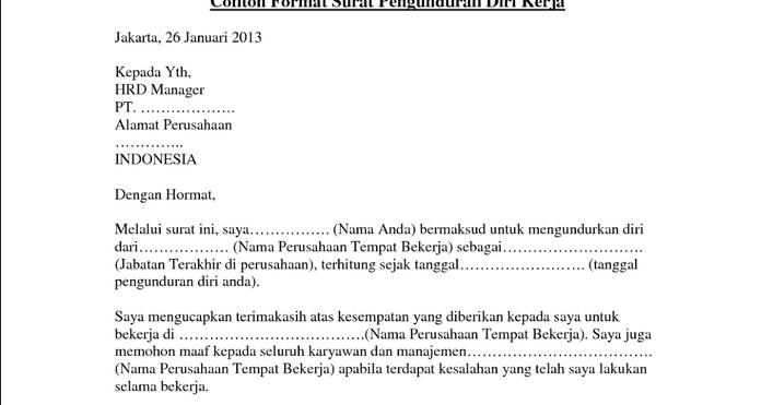 Contoh Surat Pengunduran Diri Osis - Contoh Rto