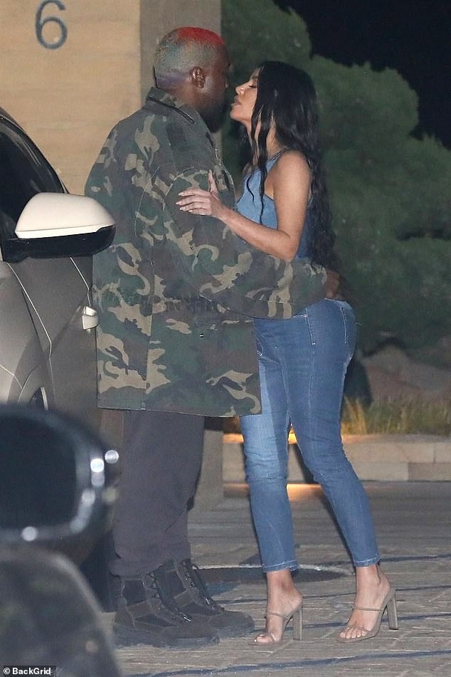 Kim Shares A Kiss With West As They Arrive A Birthday Party [Photos]