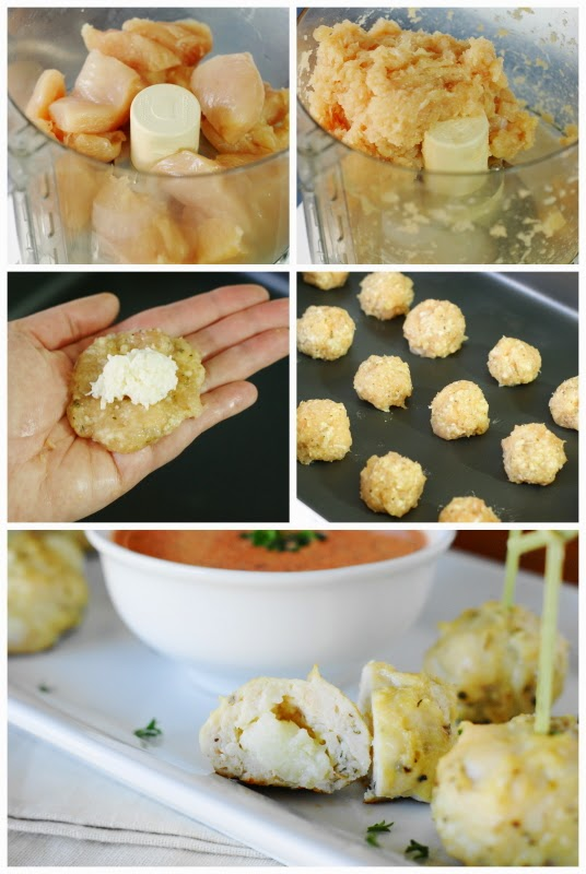 Cheese-Stuffed Chicken Meatballs with Roasted Red Pepper Dipping Sauce