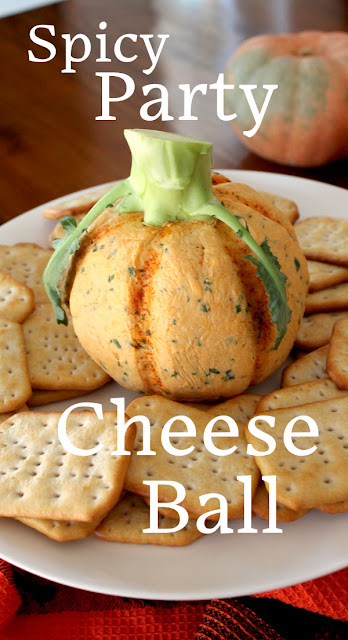 Food Lust People Love: This pumpkin-shaped spicy cheese ball is a great addition to any Halloween or Thanksgiving party table.