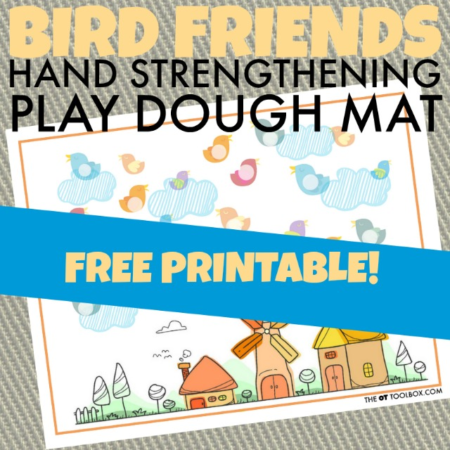Kids will love playing with this play dough mat with a bird theme while using playdough activities to help increase fine motor strength like hand strength of the intrinsic muscles of the hands. It's a great activity to work on fine motor skills with a free bird play dough mat!
