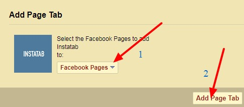 selecting facebook page for installing instagram tab