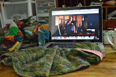 OTN.  What am I knitting?  Knitting a scarf, knitting a shawl and knitting a blanket. Knitting while watching GirlBoss