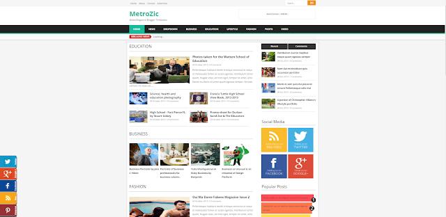 Metrozic Responsive Blogger Templates