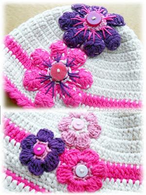 шапочка для девочки с цветами вязание