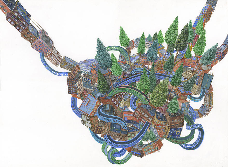 14-Intertwined-Amy-Casey-Fantastical-Architectural-Paintings-of-Real-Life-Buildings-www-designstack-co