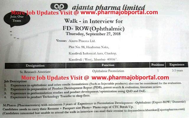 Ajanta Pharma Ltd  Walk In Interview at 27 Sep