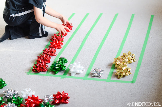 Christmas activity for kids using gift bows from And Next Comes L