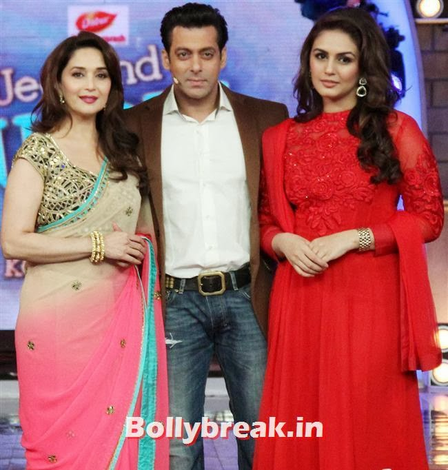 Madhuri Dixit, Salman Khan and Huma Quershi, Madhuri Dixit Huma Quershi promote Dedh Ishqiya on Bigg Boss 7