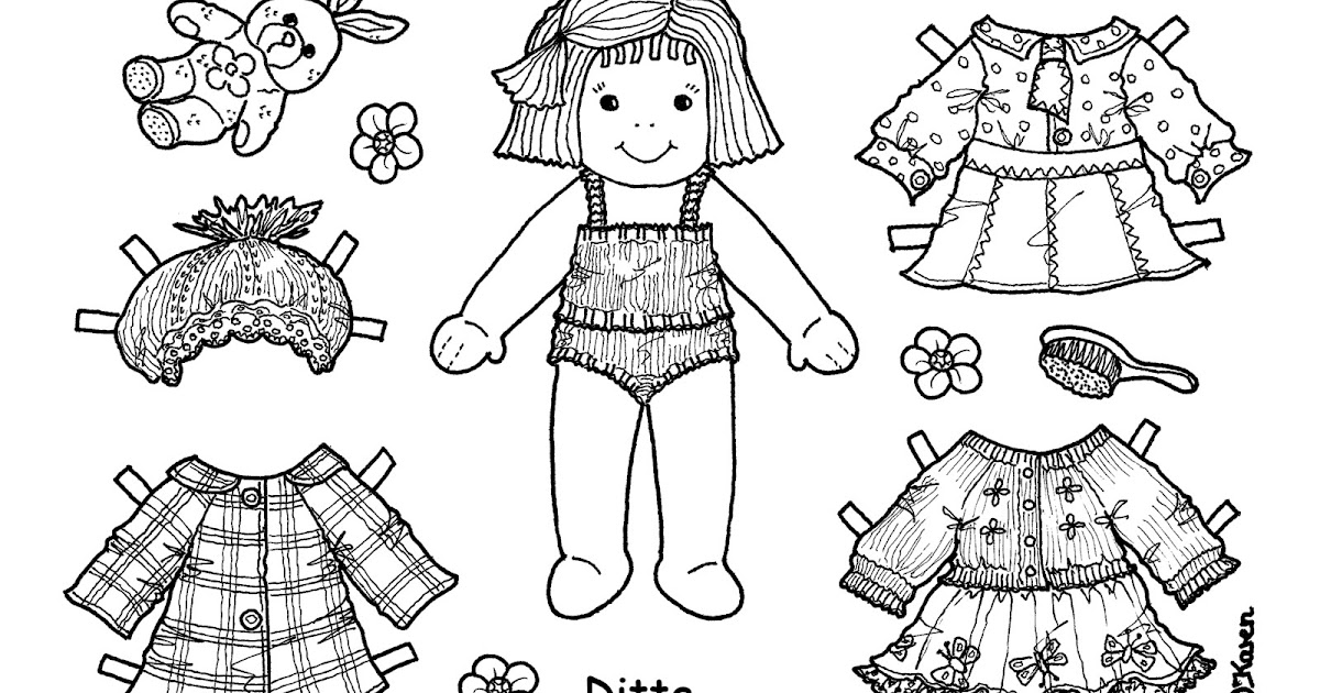 Karen`s Paper Dolls: Ditte Paper Doll Onesheet to Colour