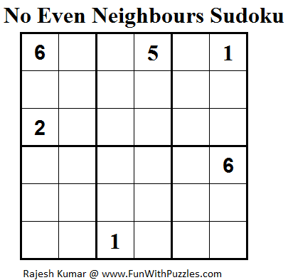 No Even Neighbours Sudoku (Mini Sudoku Series #39)
