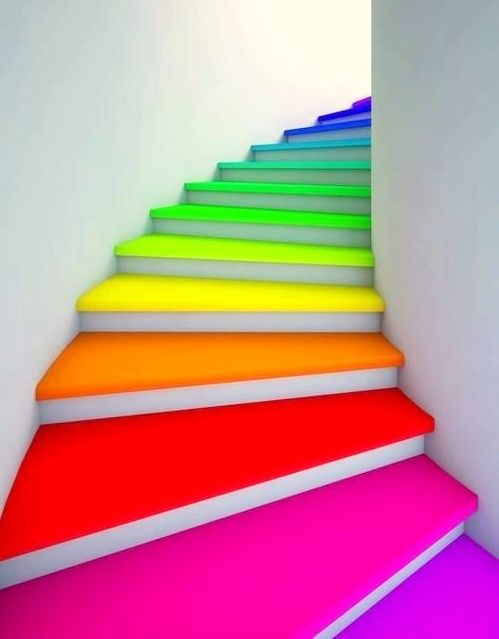 paint your stairs in bright colors for a quick and easy refresh