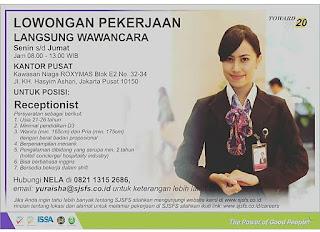 Info Lowongan Kerja Receptionist PT. Sinar Jernih Nusantara Jakarta 2018 ijazah pendidikan terakhir D3 customer service laki-laki dan perempuan perhotelan admin