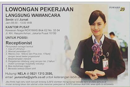 Info Lowongan Kerja Receptionist PT. Sinar Jernih Nusantara Jakarta 2018
