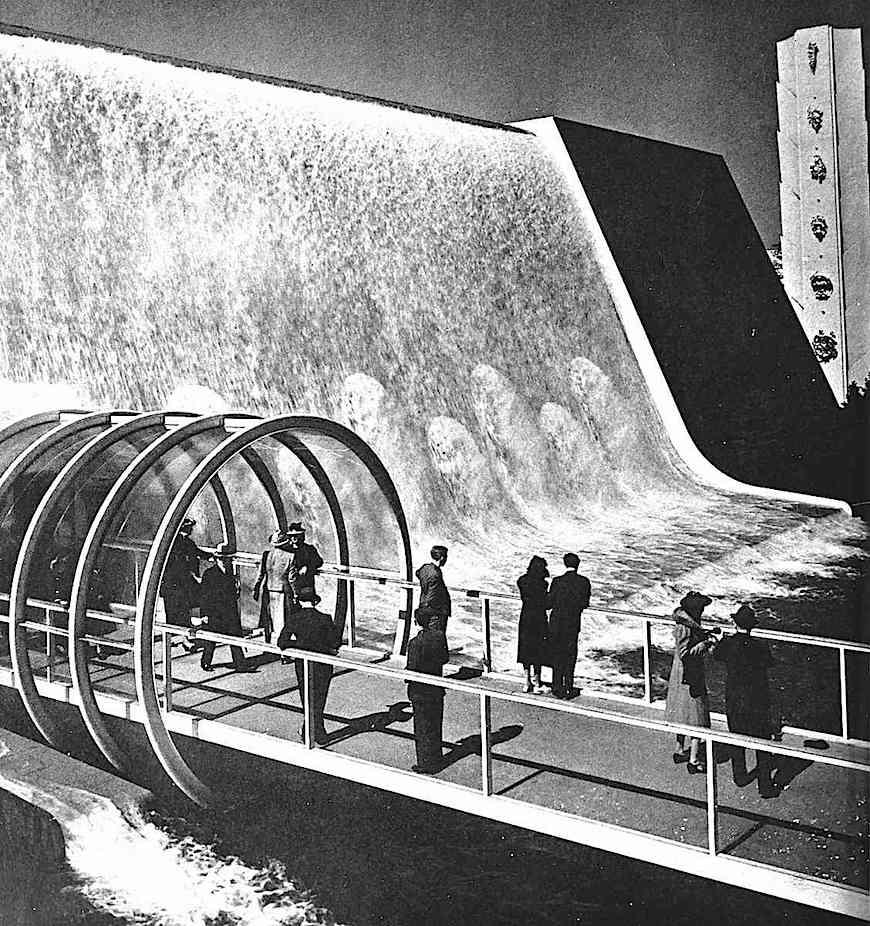 at the 1939 World's Fair, a photograph of a pedestrian tube through a waterfalls