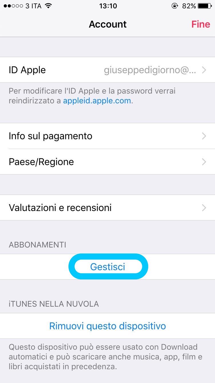 disattivare abbonamenti automatici iphone