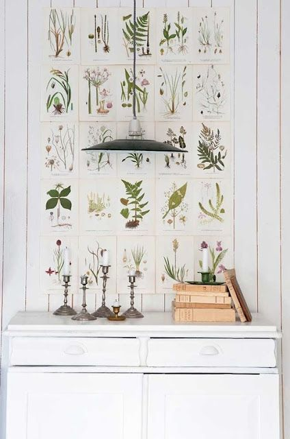 Swedish interior design inspiration with botanical prints over vintage cupboard - found on Hello Lovely Studio