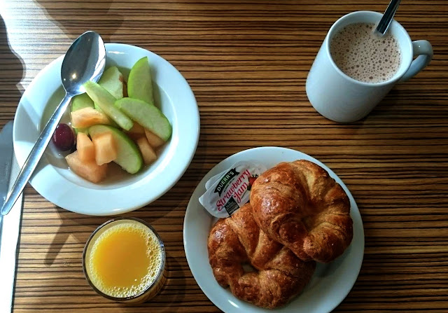 Croissants and Fruit, with Hot Chocolate at Travelodge