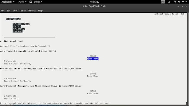 Browsing Di Terminal Linux/GNU Linux Menggunakan Elinks