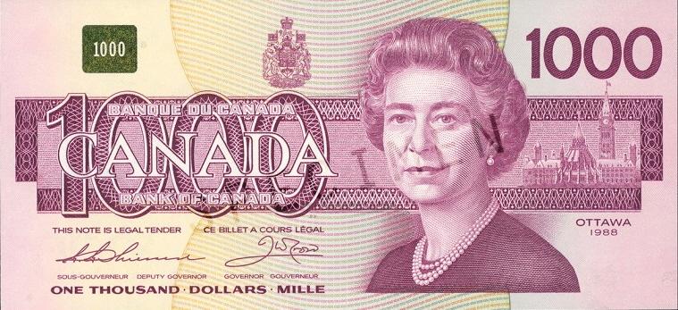 1000 dollar bill Canadian