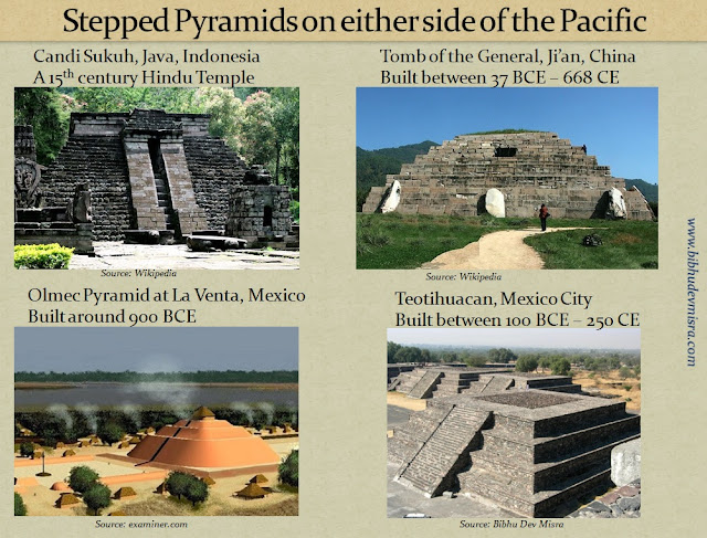 Stepped Pyramids are found on either side of the Pacific in China, Indonesia and Mexico